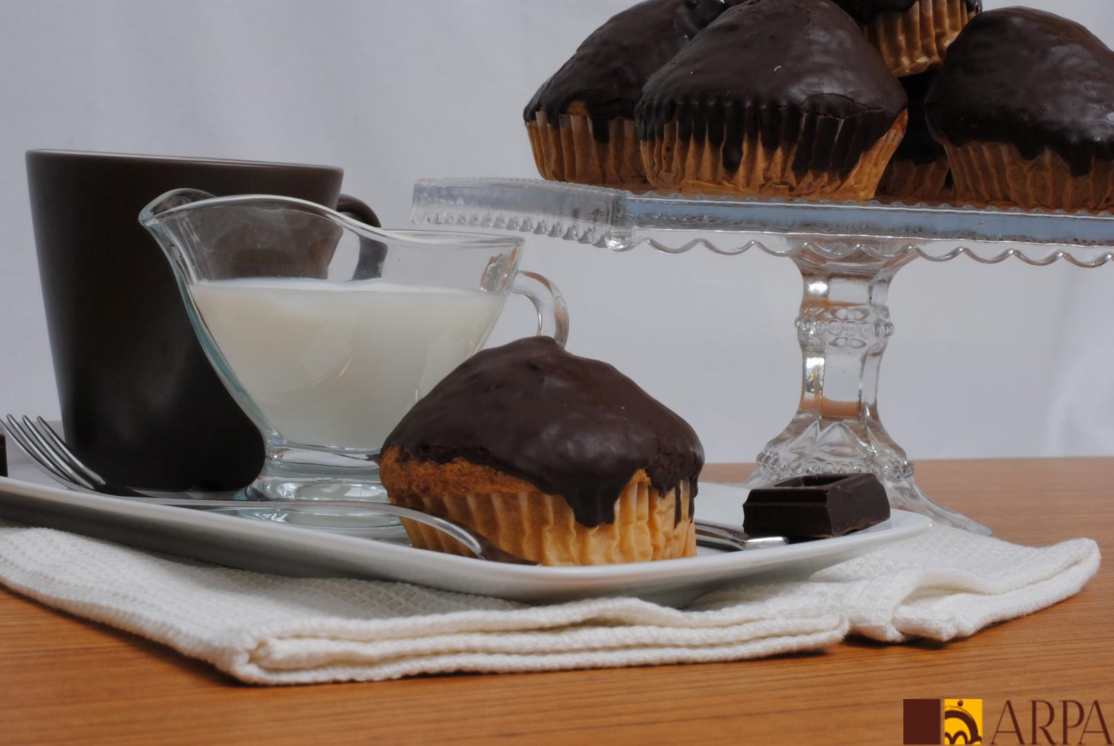 Presentación magdalena artesanal bañada en chocolate negro